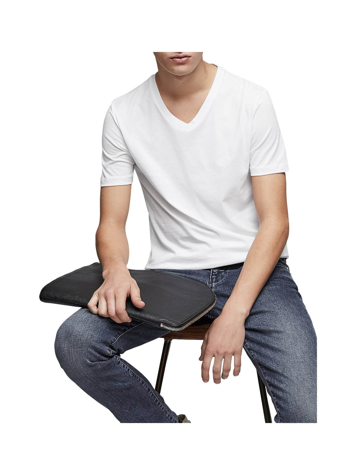 BuyReiss Dayton Cotton V-Neck T-Shirt, White, S Online at johnlewis.com