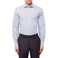 Buy Jaeger Cotton Floral Print Slim Shirt, Light Blue Online at johnlewis.com