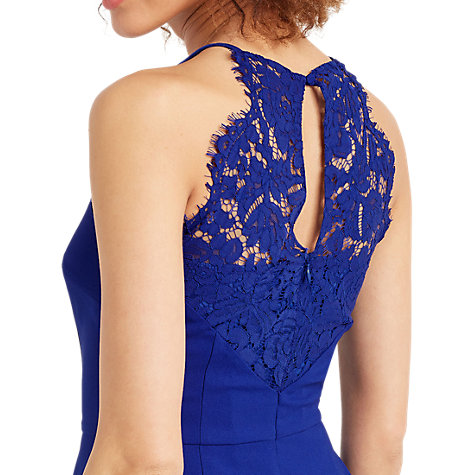 Buy Oasis Lace Back Crepe Dress, Cobalt Blue Online at johnlewis.com