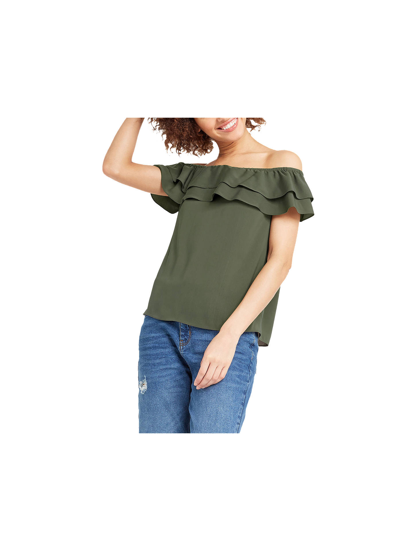 1ef3f7d9668 Buy Oasis Soft Frill Bardot Top, Khaki, 8 Online at johnlewis.com ...