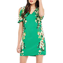 Buy Oasis Tropical Botanical Shoulder Dress, Multi/Green Online at johnlewis.com