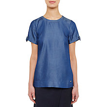 Buy Ted Baker Colour by Numbers Bow Tie Sleeve T-Shirt, Mid Wash Blue Online at johnlewis.com