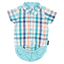 Buy Polarn O. Pyret Baby Checked Shirt Bodysuit, Green Online at johnlewis.com