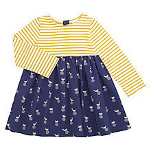 Buy John Lewis Baby Bird and Stripe Dress, Navy/Yellow Online at johnlewis.com