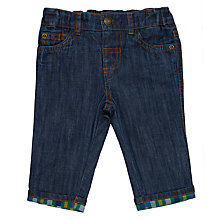 Buy John Lewis Baby Check Lined Jeans, Blue Online at johnlewis.com
