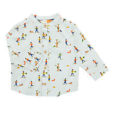 Buy John Lewis Baby All-Over People Print Shirt, Blue Online at johnlewis.com