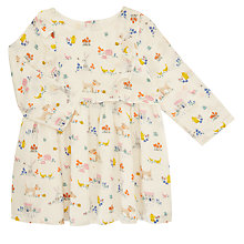 Buy John Lewis Baby Leckford Long Sleeve Dress, Cream Online at johnlewis.com