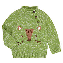 Buy John Lewis Baby Fox Jumper, Green Online at johnlewis.com
