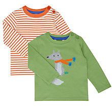 Buy John Lewis Baby Fox Jersey Top, Pack of 2, Green/Orange Online at johnlewis.com