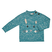 Buy John Lewis Baby Rabbit Long Sleeve Jumper, Green Online at johnlewis.com