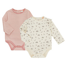 Buy John Lewis Baby Hedgehog Long Sleeve Bodysuit, Pack of 2, Multi Online at johnlewis.com