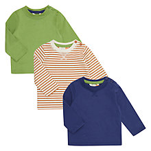 Buy John Lewis Baby Long Sleeve Cotton T-Shirts, Pack of 3, Assorted Online at johnlewis.com