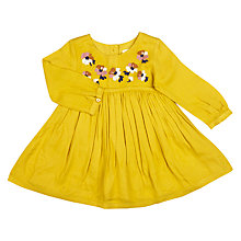 Buy John Lewis Baby Embroidered Woven Dress, Yellow Online at johnlewis.com