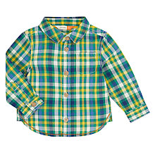 Buy John Lewis Baby Long Sleeve Checked Shirt, Green Online at johnlewis.com