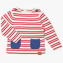 Buy John Lewis Baby Artroom Striped Organic Cotton Jumper, Red/White Online at johnlewis.com
