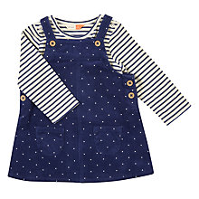 Buy John Lewis Baby Spot Corduroy Dress and Top Outfit, Navy Online at johnlewis.com