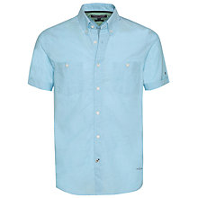 Buy Tommy Hilfiger Slim Fit Chambray Cotton-Linen Shirt, Blue Atoll Online at johnlewis.com