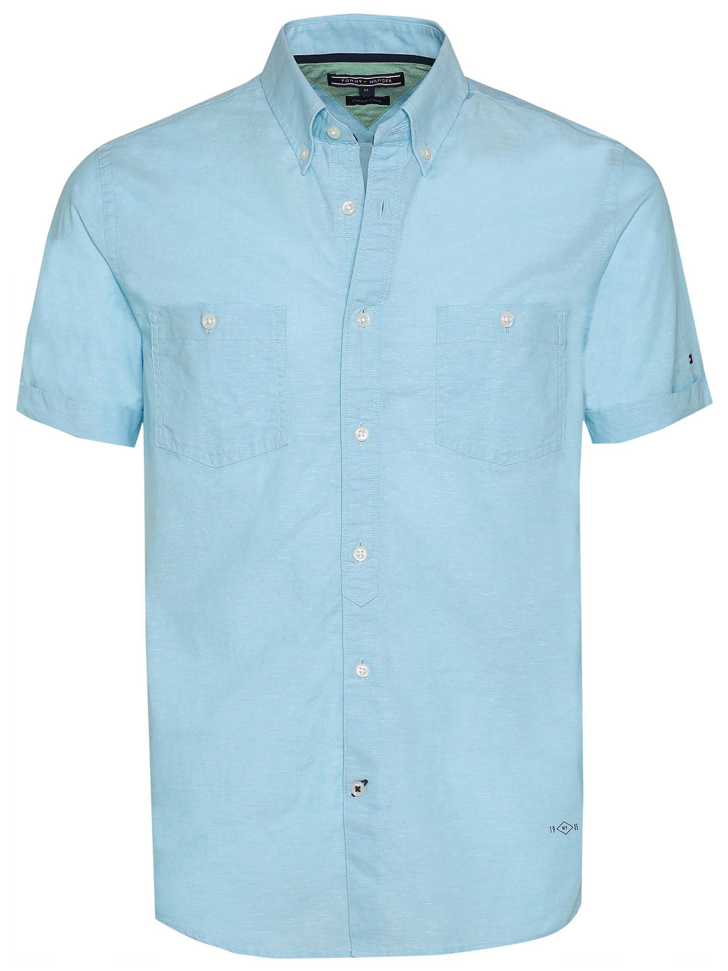 c44dfcb6 Buy Tommy Hilfiger Slim Fit Chambray Cotton-Linen Shirt, Blue Atoll, S  Online