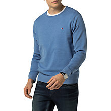 Buy Tommy Hilfiger Cotton Silk Crew Neck Jumper, Ultramarine Heather Online at johnlewis.com