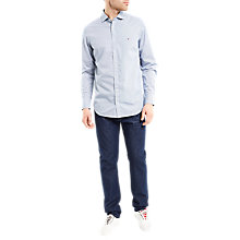 Buy Tommy Hilfiger Dashed Dot Print Shirt, Bright White/Medieval Blue Online at johnlewis.com