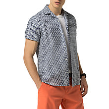 Buy Tommy Hilfiger Yves Print Short Sleeve Shirt, Medieval Blue/Bright White Online at johnlewis.com