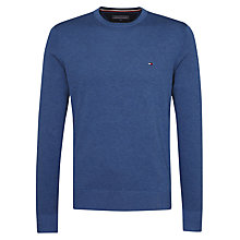 Buy Tommy Hilfiger Plaited Cotton Silk Crew Neck Jumper, True Navy Heather Online at johnlewis.com