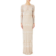 Buy Adrianna Papell Illusion Long Sleeve Beaded Gown, Ivory/Nude Online at johnlewis.com
