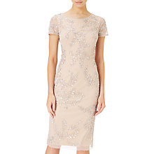 Buy Adrianna Papell Tea Length Beaded Dress, Silver/Nude Online at johnlewis.com