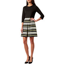 Buy Hobbs Louise Stripe Skirt Dress, Olive/Multi Online at johnlewis.com