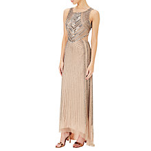 Buy Adrianna Papell Sleeveless Beaded Gown, Taupe/Pink Online at johnlewis.com