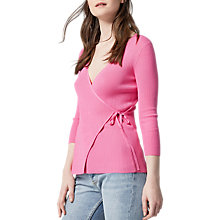 Buy Warehouse Ballet Wrap Tie Side Jumper, Bright Pink Online at johnlewis.com
