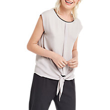 Buy Oasis Embellished Neck Tie Front Top, Pale Grey Online at johnlewis.com