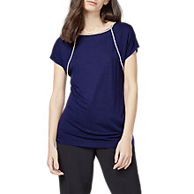 Buy Warehouse Raglan Diamante Trim T-Shirt, Navy Online at johnlewis.com