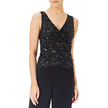 Buy Adrianna Papell Petite Beaded Jersey Jumpsuit, Black Online at johnlewis.com