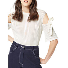 Buy Warehouse Pointelle Tie Shoulder Top, Cream Online at johnlewis.com