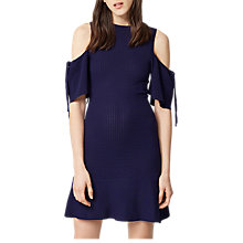Buy Warehouse Textured Cold Shoulder Dress, Navy Online at johnlewis.com