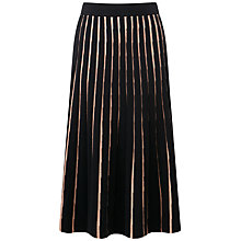 Buy Pure Collection Knitted Full Skirt, Black/Sesame Online at johnlewis.com
