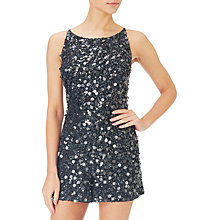 Buy Adrianna Papell Beaded Halterneck Playsuit, Black Online at johnlewis.com