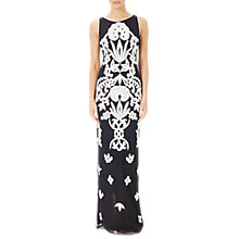 Buy Adrianna Papell Beaded Square Neck Column Gown, Black/Ivory Online at johnlewis.com