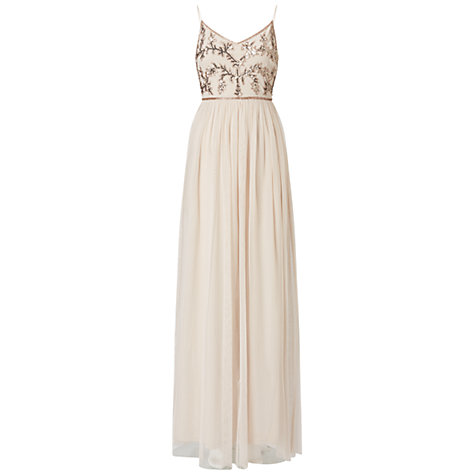 Buy Adrianna Papell Spaghetti Strap Beaded Bodice Gown, Biscotti Online at johnlewis.com
