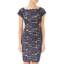 Buy Adrianna Papell Off Shoulder Lace Sheath Dress, Midnight Blue/Pale Pink Online at johnlewis.com