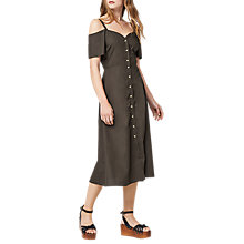 Buy Warehouse Button Through Cotton Dress, Khaki Online at johnlewis.com