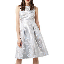 Buy Warehouse Metallic Jacquard Dress, Silver Online at johnlewis.com