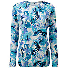 Buy Pure Collection Cashmere Boyfriend Jumper, Blue Palm Print Online at johnlewis.com