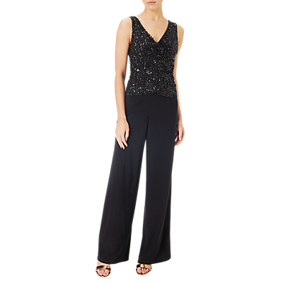 Adrianna Papell Beaded Jersey Jumpsuit, Black