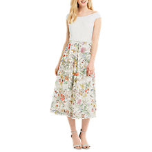 Buy Oasis Spring Print Lace Bardot Dress, Multi/Natural Online at johnlewis.com