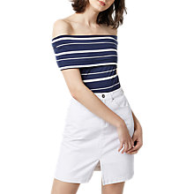 Buy Warehouse Deep Bardot Top, Blue Stripe Online at johnlewis.com