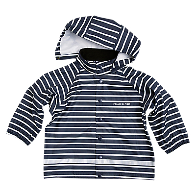 Polarn O. Pyret Baby Striped Raincoat, Blue