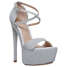 Buy KG by Kurt Geiger Nannette Platform Stiletto Heeled Sandals, Silver Online at johnlewis.com