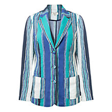 Buy East Henley Print Linen Jacket, Indigo Online at johnlewis.com